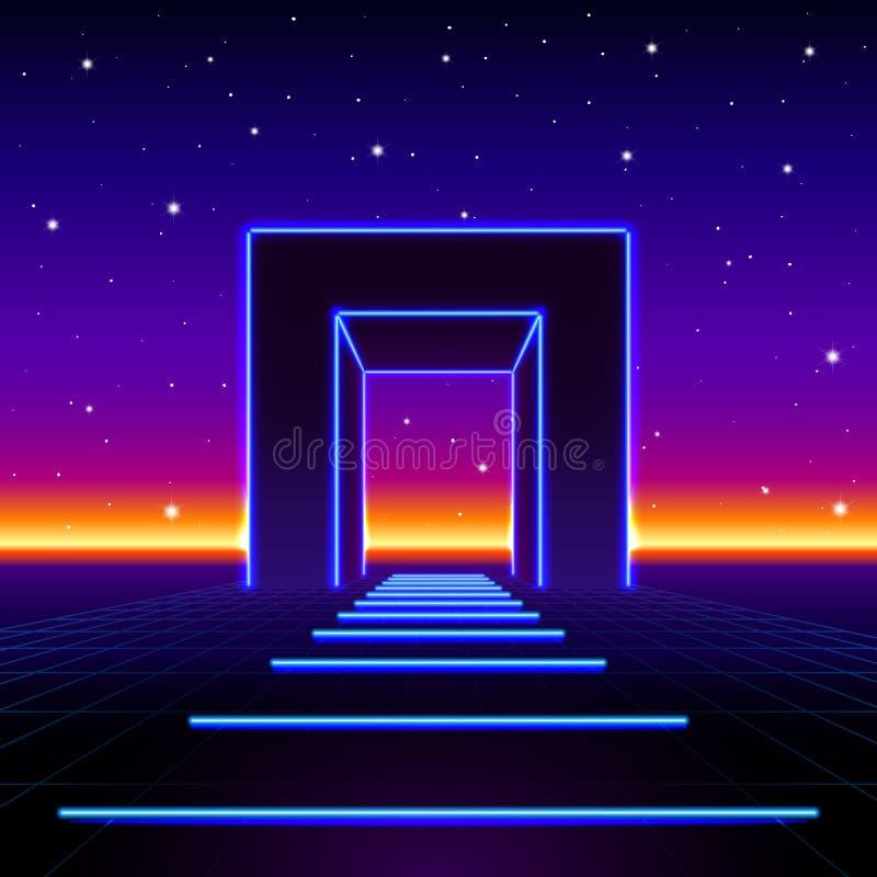 Neon 80s redete enormes Tor in der Retro- Spiellandschaft mit glänzender Straße zur Zukunft an lizenzfreie abbildung