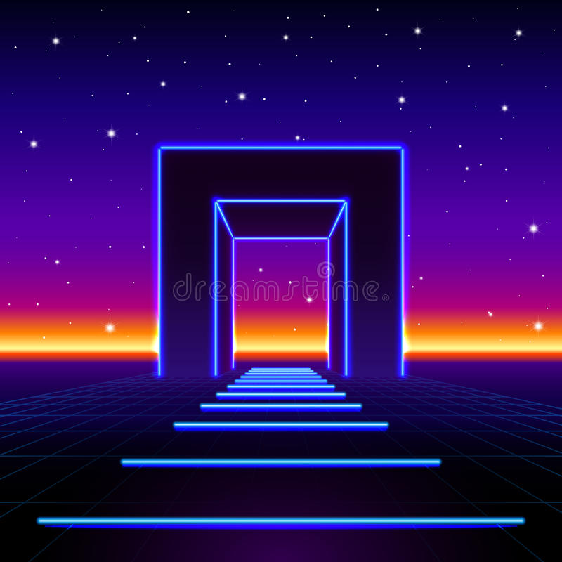 Neon 80s styled massive gate in retro game landscape with shiny road to the future. Neon 80s styled massive gate in retro game landscape with shiny road royalty free illustration