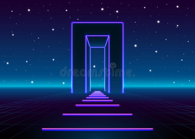 Neon 80s styled massive gate in retro game landscape with shiny road to the future vector illustration