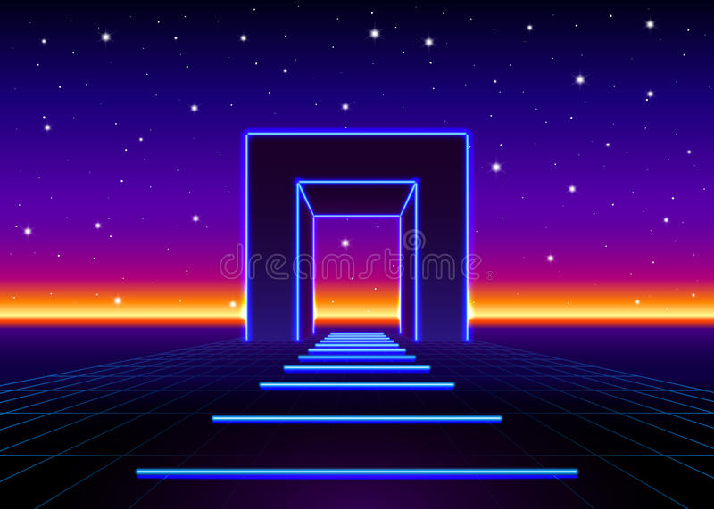 Neon 80s styled massive gate in retro game landscape with shiny road to the future. Neon 80s styled massive gate in retro game landscape with shiny road vector illustration