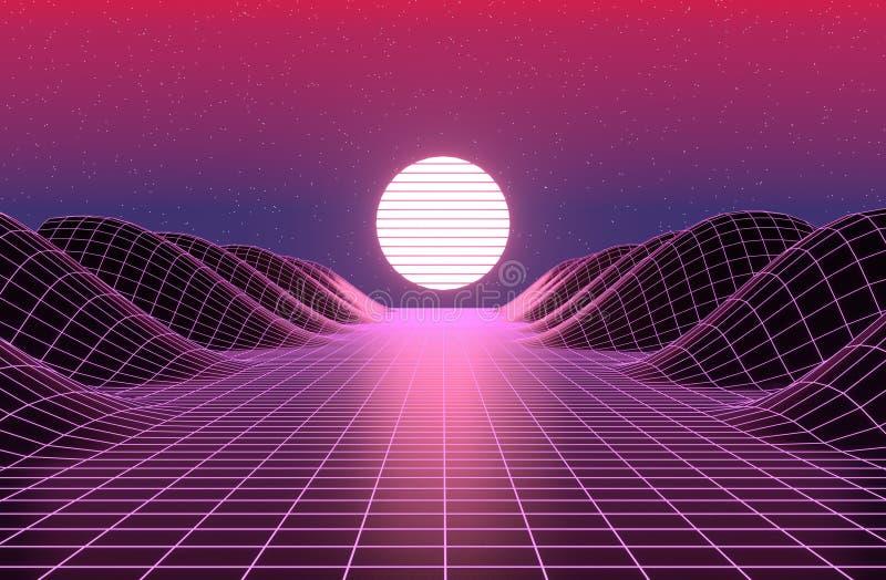 Neon 80s styled , vintage  retro game landscape 3d rendering stock illustration