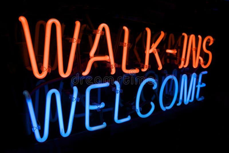 neon s znaka spaceru powitanie zdjęcie stock