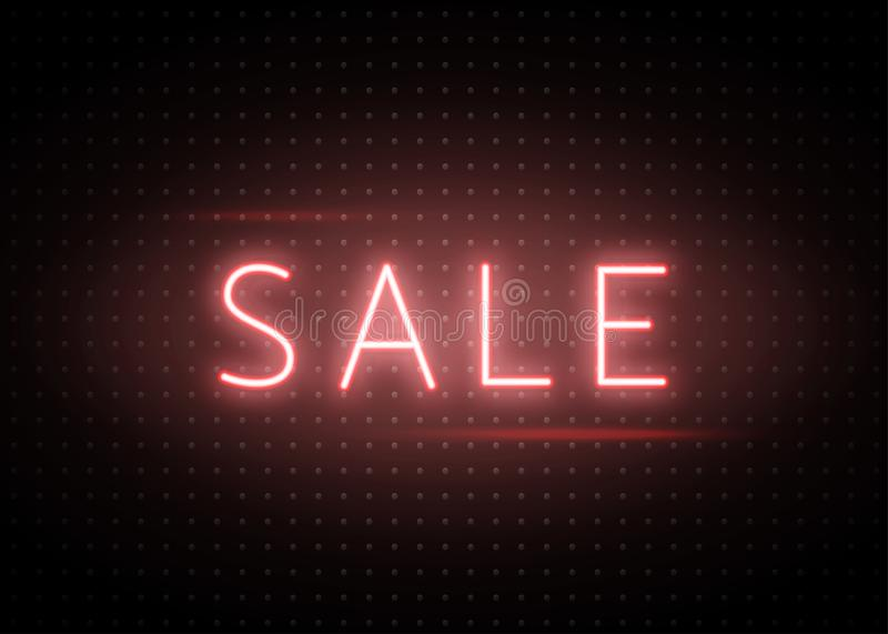 Neon sale banner. Luminous light red type text sign on dark dots backdrop. Neon sale banner background. Luminous light red type line text sign on dark dots vector illustration