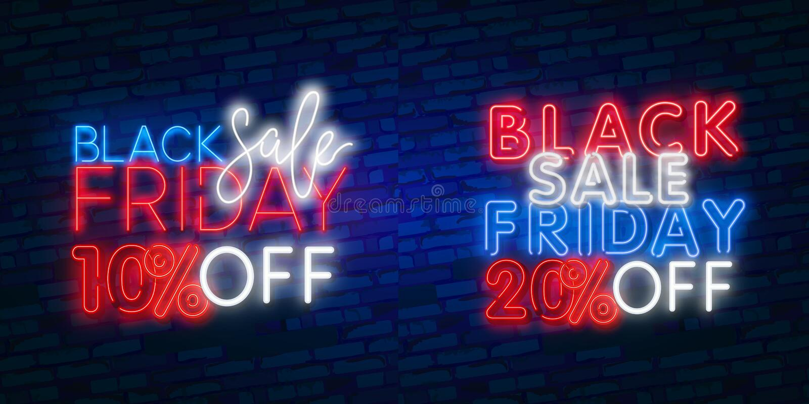 NEON Sale. Dark background for black Friday sale. Modern neon red billboard on brick wall. 10, 20 percent off. Dark background for black Friday sale. Modern neon vector illustration