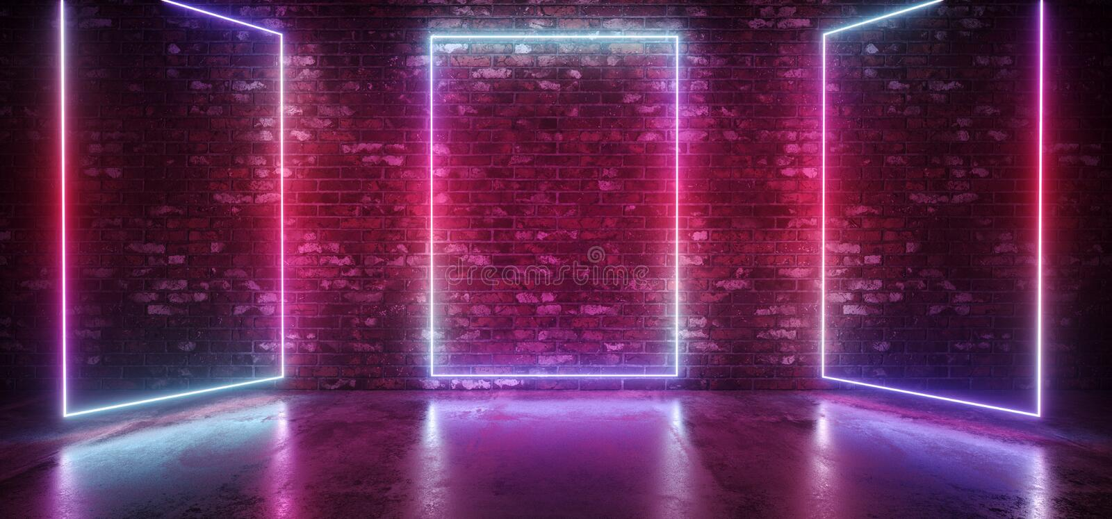 Neon Sci Fi Futuristic Retro Modern Elegant Club Glowing Gradient Blue Pink Purple Stage Rectangle Frame Lights On Brick Wall. Reflective Concrete Floor Empty royalty free illustration