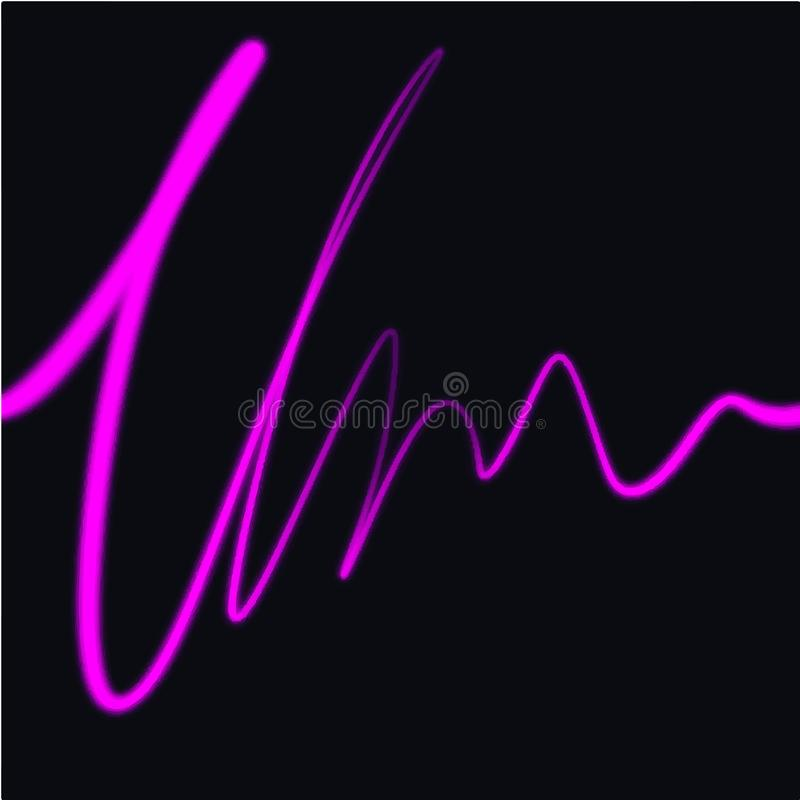 Neon scribble sketch objects. Waves vibration lines, isolated on dark background. Light painting royalty free illustration