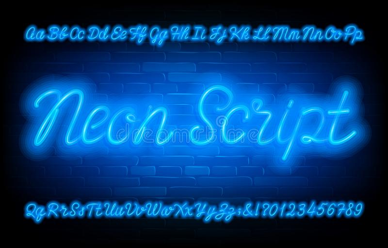 Neon Script alphabet font. Blue neon light uppercase and lowercase letters and numbers on brick wall background. royalty free illustration