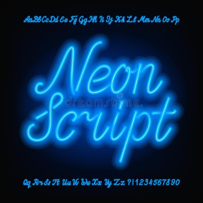 Neon script alphabet font. Blue neon uppercase and lowercase letters and numbers. Hand drawn vector typeface for your headers or any typography design stock illustration