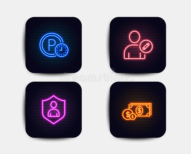 Edit user, Parking time and Security icons. Dollar money sign. Profile data, Park clock, Private protection. Vector royalty free illustration