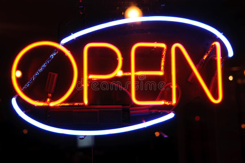 Neon shining signboard stock images