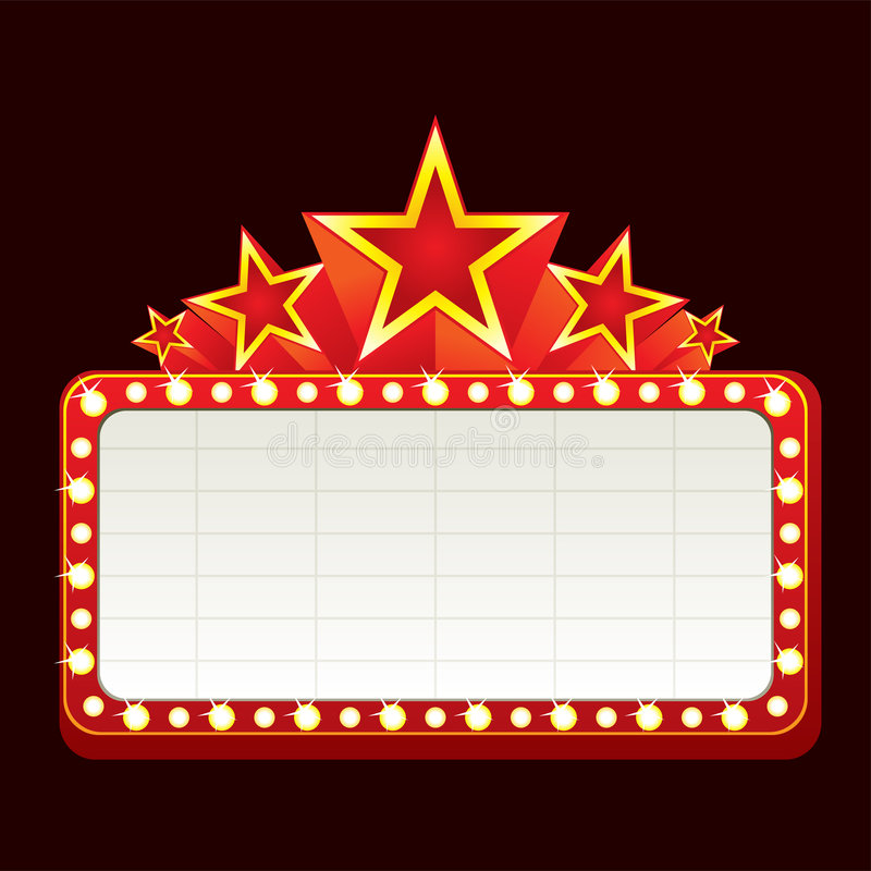 Neon sign. Classic blank neon sign for cinema, theater or casino vector illustration
