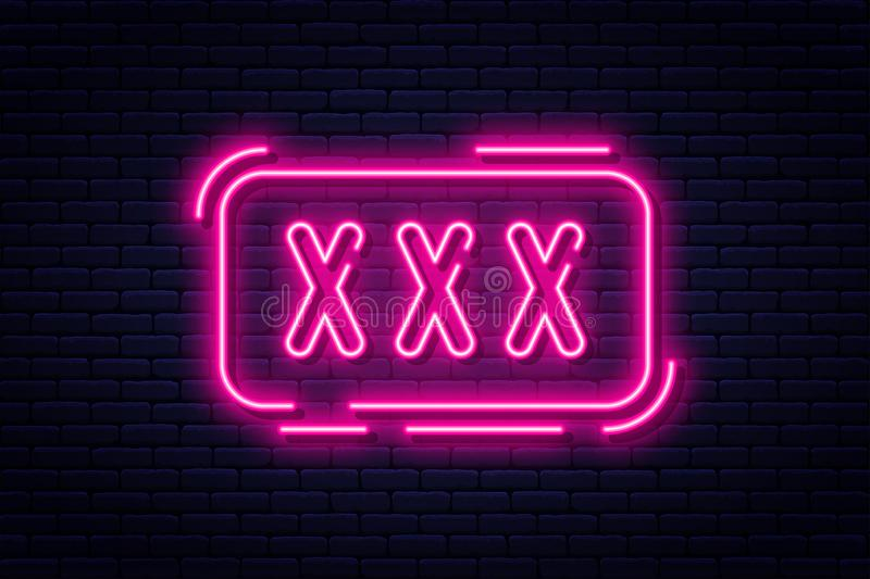 Neon sign, adults only, 18 plus, sex and xxx. Restricted content, erotic video concept banner, billboard or signboard. Template in neon light style. Vector royalty free illustration