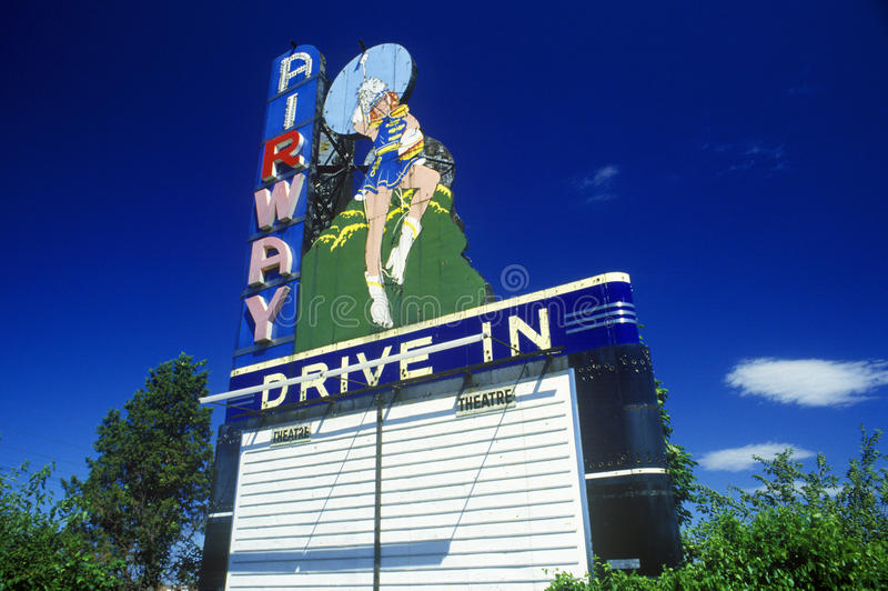 Neon sign at Airway Drive In, St. Louis, MO stock photos