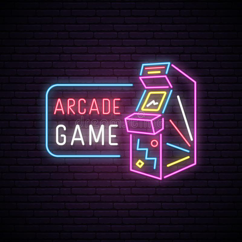 Neon sign of Arcade game machine. Neon entertainment emblem, bright banner. Advertising design. Night light signboard. Vector illustration royalty free illustration