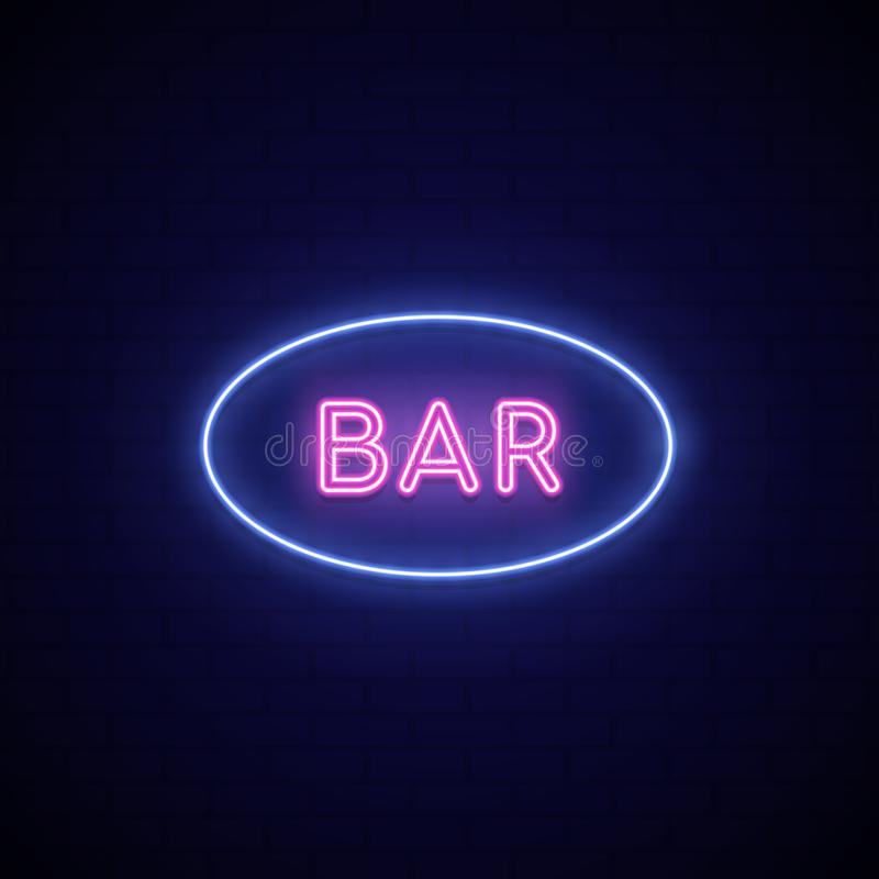 Neon sign Bar. Neon signboard on dark background. Vector Illustration stock illustration