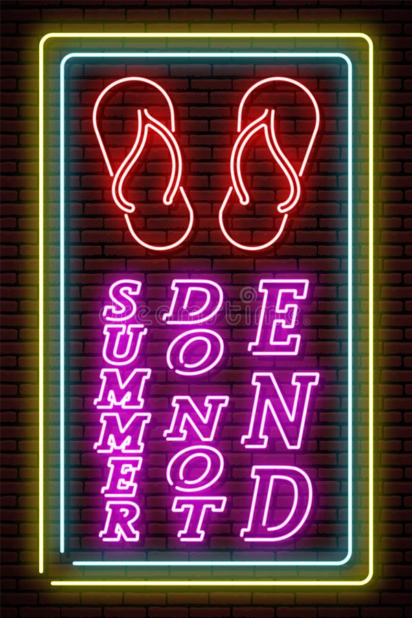 Neon sign. Beach slippers in a frame on the background of a brick wall. Isolated vector illustration