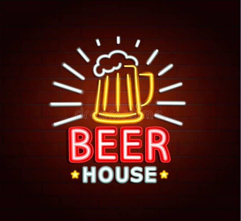 Neon sign of beer house. Neon sign of beer house, bright signboard, light banner. Beer house logo, emblem and symbol. Raster copy royalty free stock image