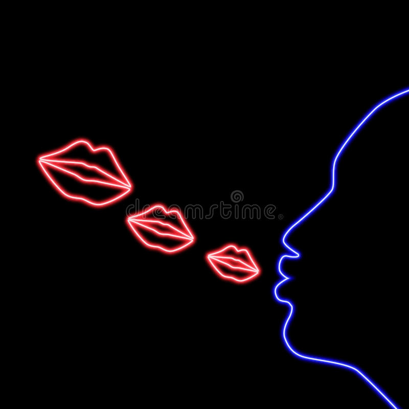 Neon sign blow kiss. Illustration of woman blow kiss neon sign royalty free illustration