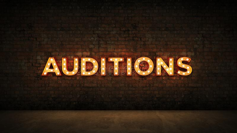 Neon Sign on Brick Wall background - Auditions . 3d rendering.  royalty free illustration