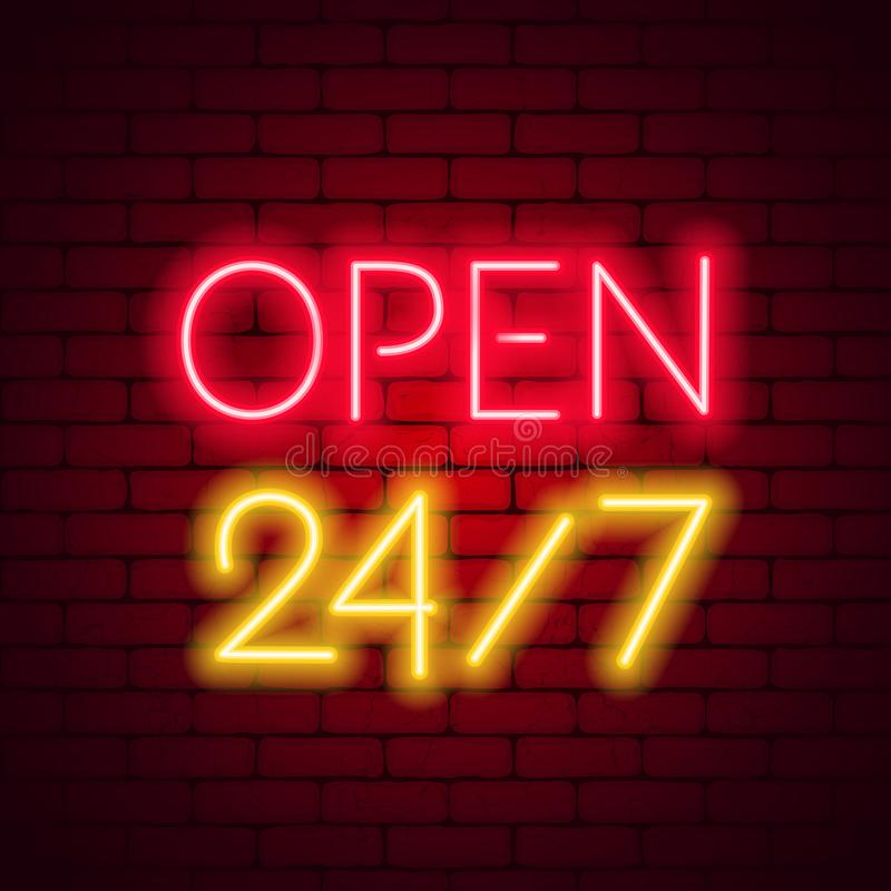 Neon sign 24 7 on brick wall background. royalty free illustration
