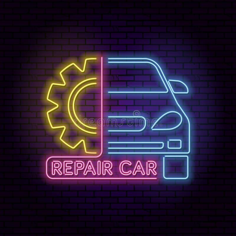Neon sign car vector illustration