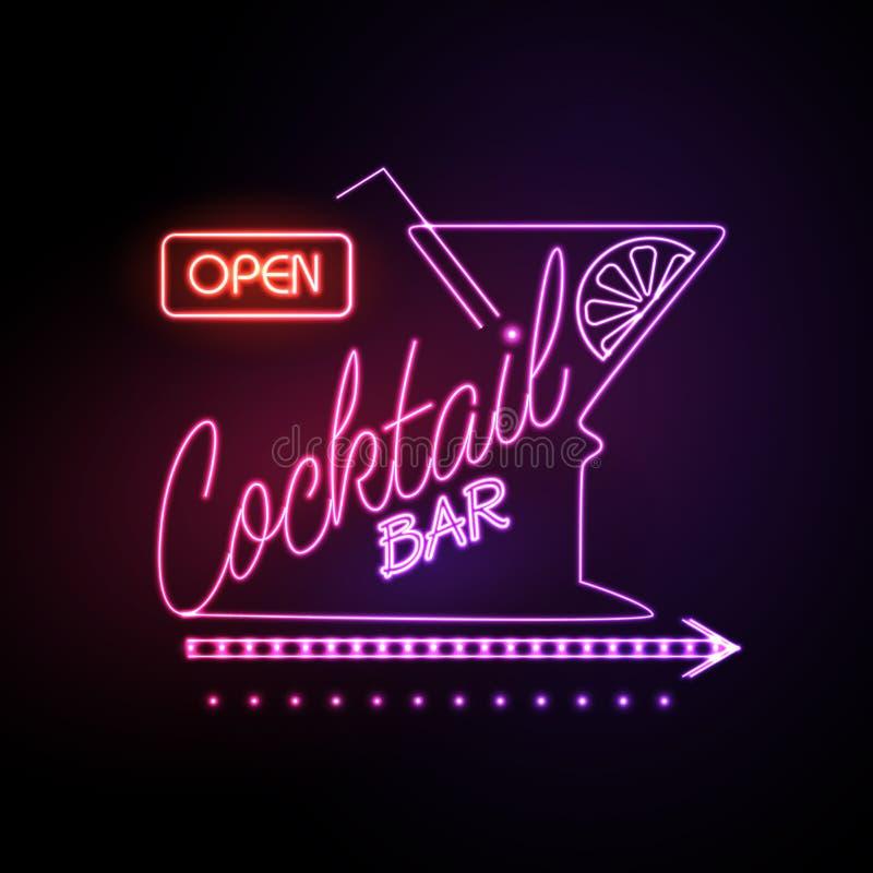 Neon sign Cocktail bar stock illustration