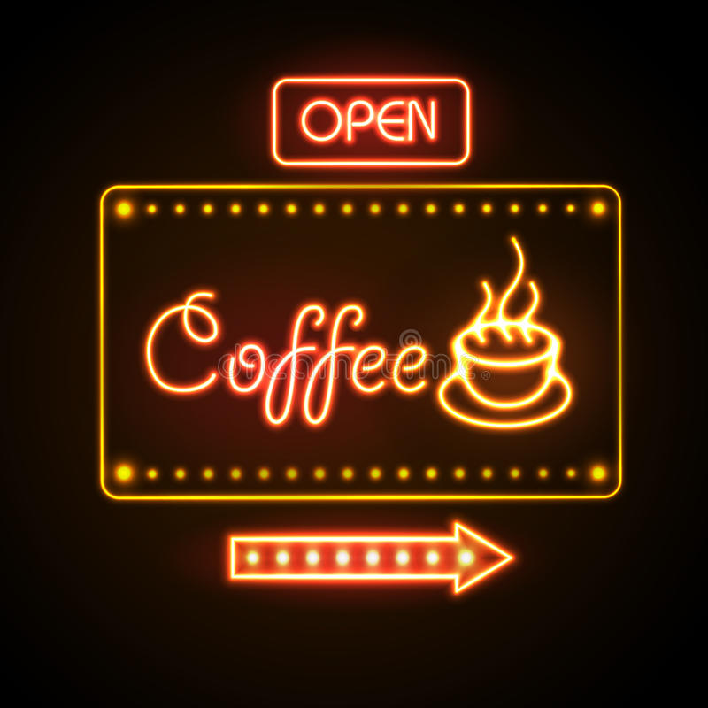 Neon sign. Coffee royalty free illustration