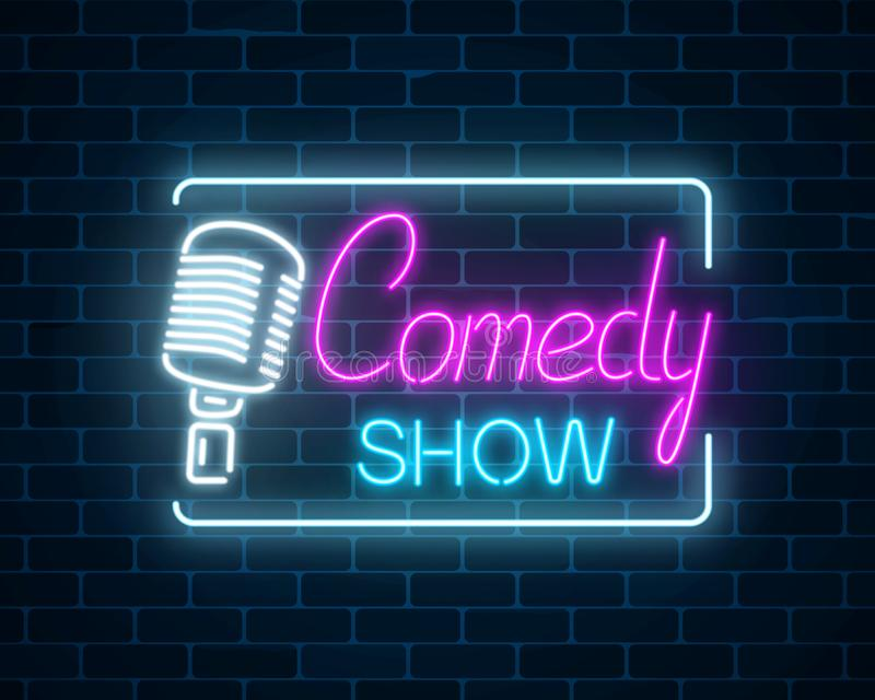 Neon sign of comedy show with retro microphone symbol on a brick wall background. Humor glowing signboard. stock illustration