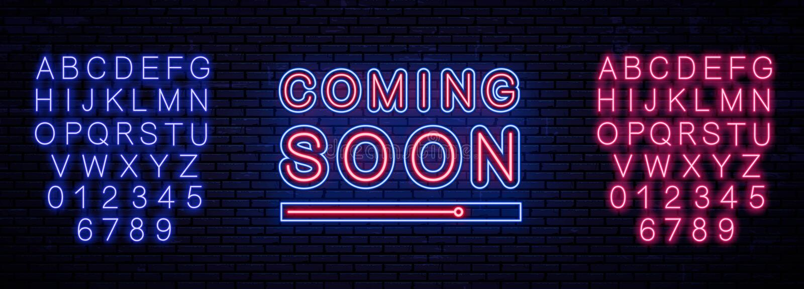 Neon sign. coming soon. Vector illustration stock illustration