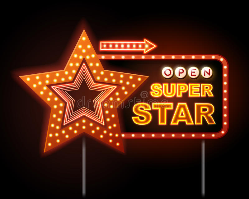 Neon sign of disco star and neon text super star stock illustration
