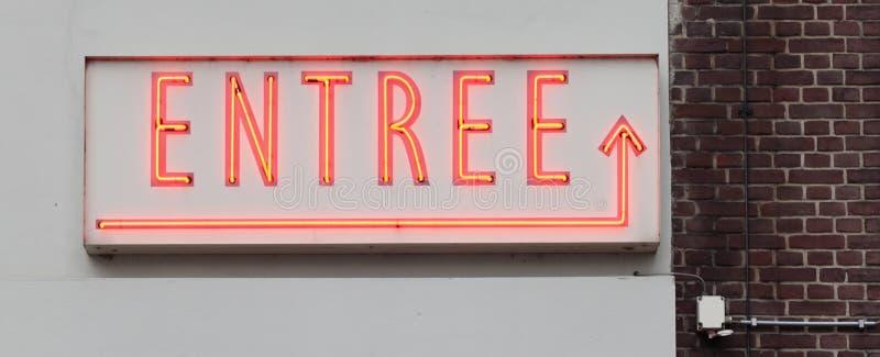 Neon sign - entree stock photo