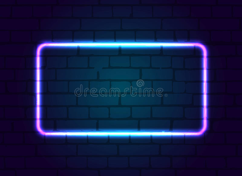 Neon sign frame blank. Neon sign frame blank against a brick wall vector illustration