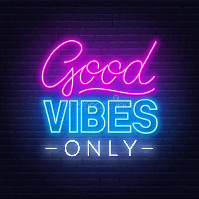 Neon Sign Good Vibes Only Stock Vector Illustration Of Pink Card 158857021