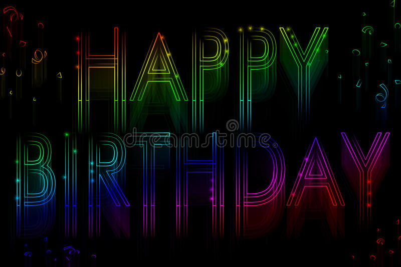 Neon sign happy birthday. On a black background vector illustration
