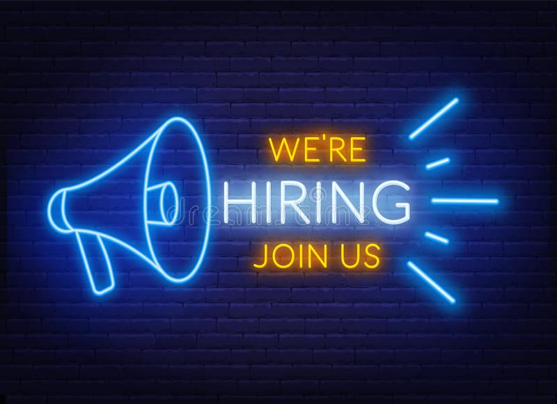 Neon sign we are hiring - join us on the brick wall background. Light poster or banner for recruiting. stock illustration