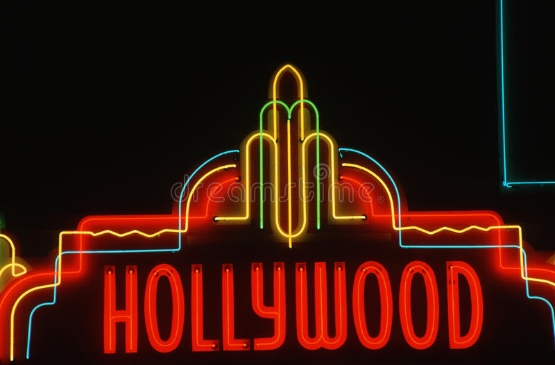 Download Neon sign of Hollywood, CA editorial stock photo. Image of nightlife - 23148708