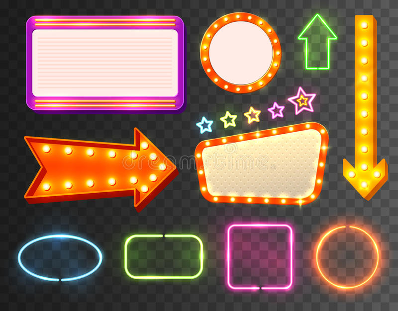 Neon Sign Icon Set. Multicolored flashing and shimmering with little lights on transparent background vector illustration royalty free illustration