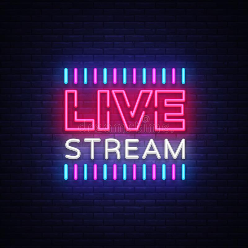 Neon sign live stream design element. Light banner, neon signboard for news and TV shows, as well as live broadcasts. Vector illustration vector illustration