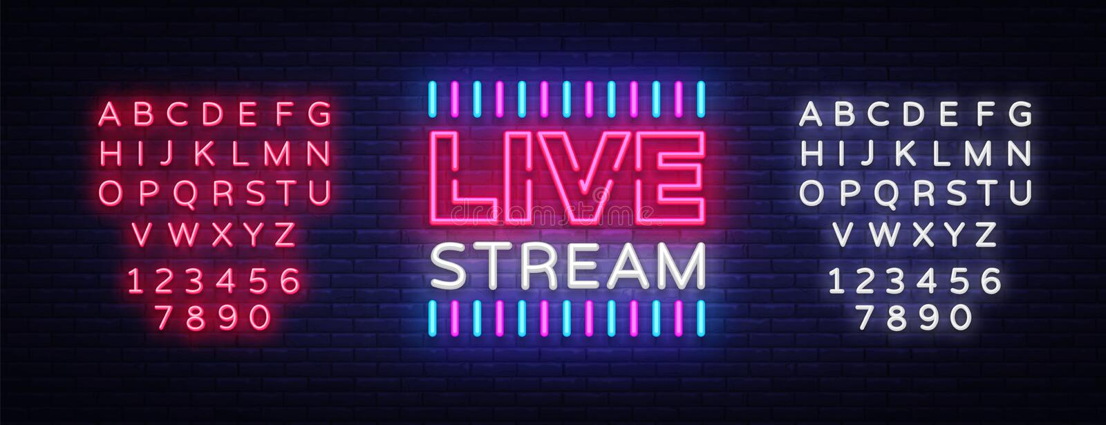 Neon sign live stream design element. Light banner, neon signboard for news and TV shows, as well as live broadcasts. Vector illustration. Editing text neon stock illustration