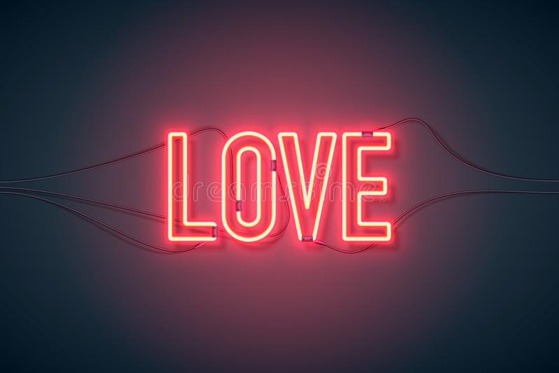 Neon sign love wide. Bright heart. Neon sign. Retro neon Love sign on purple background. Design element for Happy Valentine`s Day. Ready for your design royalty free illustration