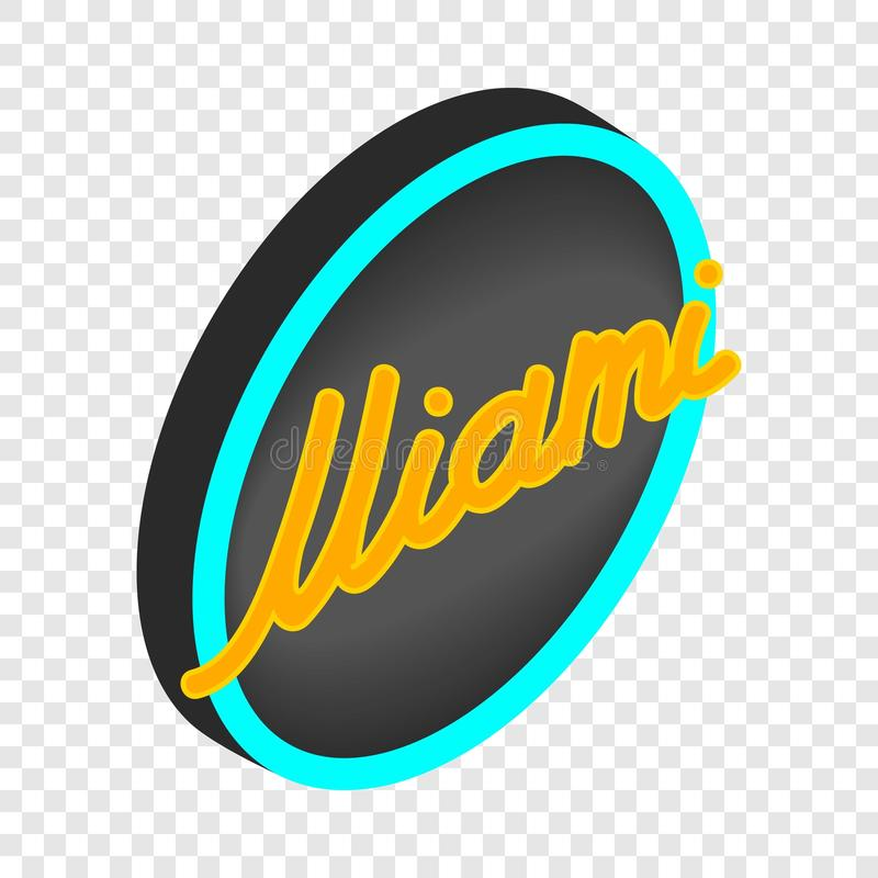 Neon sign Miami isometric icon stock illustration