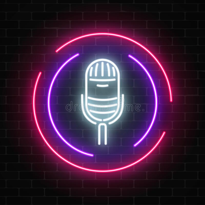 Neon sign with microphone in round frame. Nightclub with live music icon. stock illustration