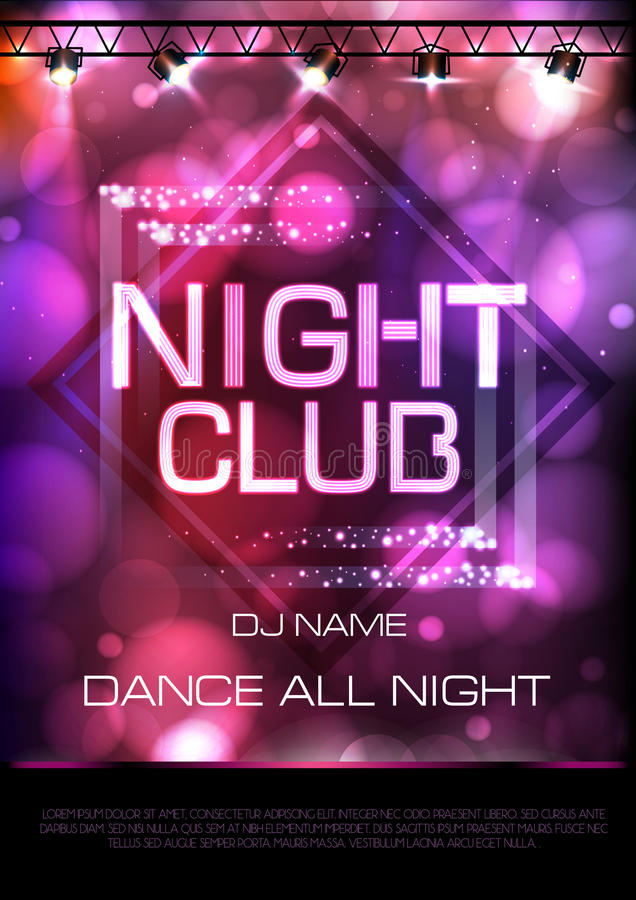 Neon sign. Night club disco party poster. On pink background royalty free illustration
