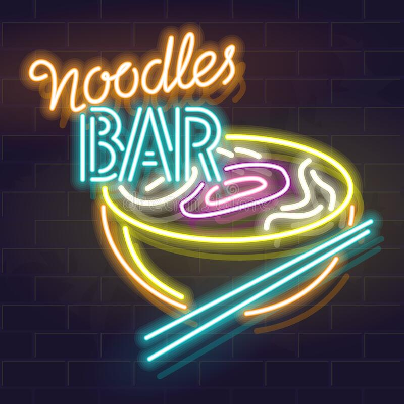 Neon sign for noodles bar. Oriental bowl of soup icon. Ramen, pho, ramyun, udon or other traditional food. Isolated royalty free illustration