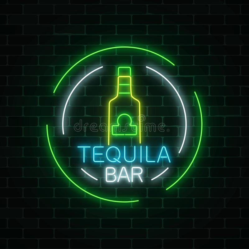 Free Neon Sign Of Tequila Bar In Circle Frames. Mexican Alcohol Drink Pub Emblem In Neon Style. Royalty Free Stock Photos - 114141308