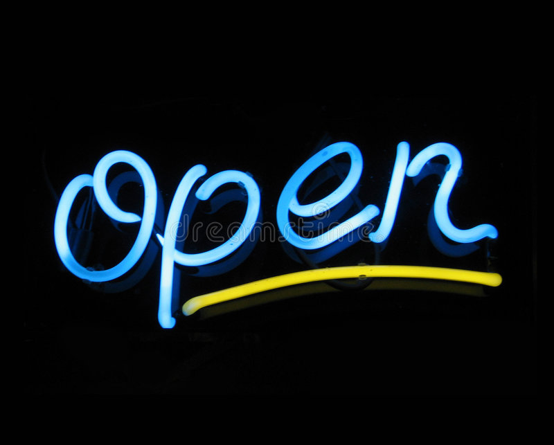 Neon sign open royalty free stock photography