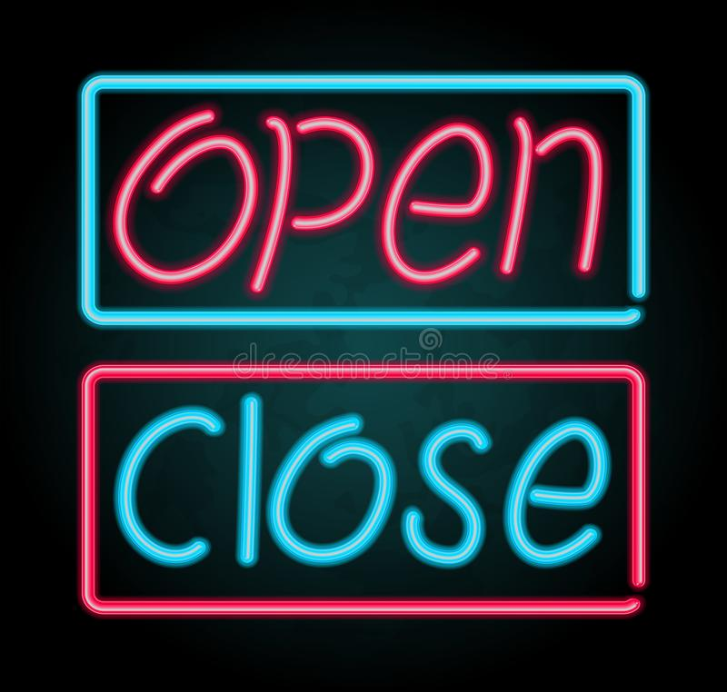 Neon sign for open and close vector illustration