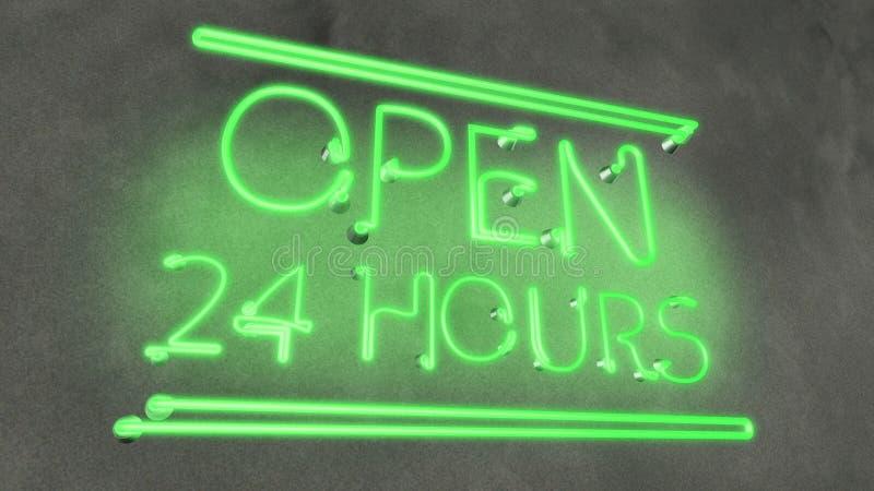 Neon sign Open 24 godziny w kawiarni w restauracji, wieczorny, miejscowy pub ilustracja wektor