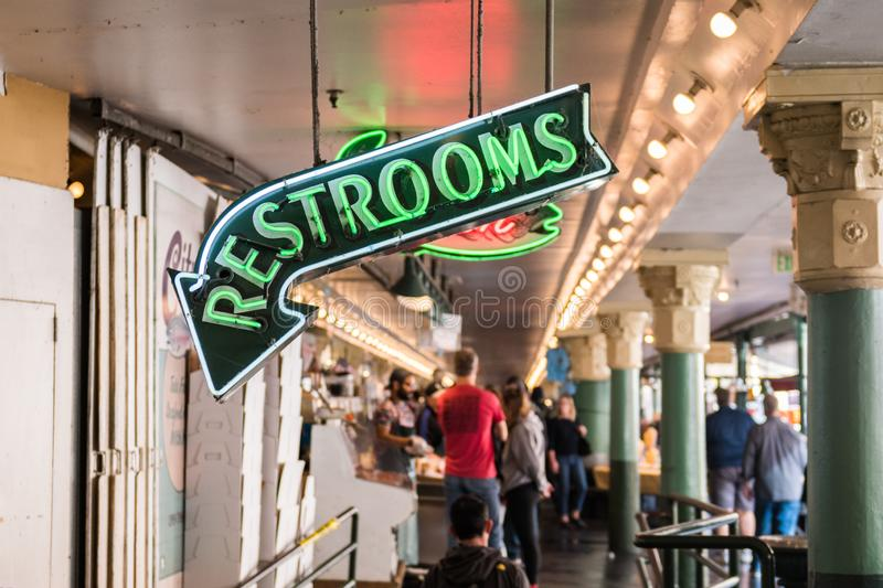 Neon sign from Pike Market restrooms in Seattle, Washington, USA stock images