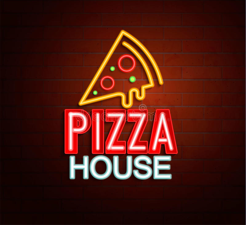 Neon sign of pizza house. vector illustration